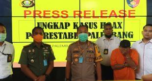 Polrestabes Palembang ungkap kasus penyebaran video hoax pasien corona. FOTO : VIRALSUMSEL.COM
