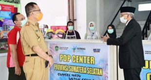 H. Mawardi Yahya meninjau gedung PDP Center Pemprov Sumsel yang berlokasi di Tower 8, Jakabaring Sport City Palembang, Senin (18/52020).