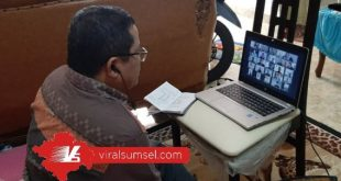 Sekretaris PT SOM Faisal Mursyid rapat virtual kelanjutan Liga 2. FOTO :VIRALSUMSEL.COM