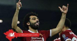 Mohammed Salah penyerang Liverpool selebrasi usai cetak gol. FOTO : IG M SALAH