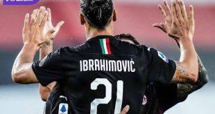 Zlatan Ibrahimovic penyerang AC Milan selebrasi usai cetak gol ke gawang Samdoria. FOTO : IG ACMILAN
