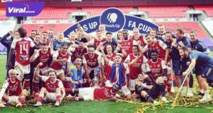 Selebrasi para pemain Arsenal usai meraih gelar juara Piala FA. FOTO : IG ARSENAL