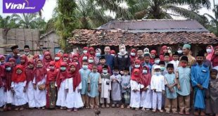 Amaliah Sobli Anggota DPD RI saat kunjungi Rumah Tafidz Nurul Yaqin di Banyuasin. FOTO : VIRALSUMSEL.COM