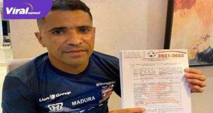 Alberto Goncalves resmi tanda tangan kontrak dengan Madura United. FOTO : MO MU