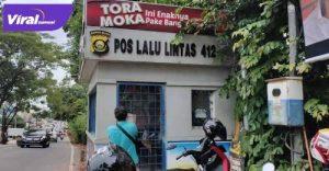 Pos Polantas 412 Simpang Golf di Jalan AKBP Cek Agus, Kelurahan Duku, Kecamatan Ilir Timur (IT) II, Palembang. FOTO : VIRALSUMSEL.COM