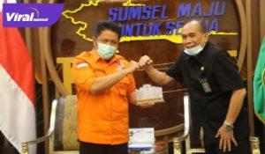 Gubernur Sumsel H Herman Deru menerima Ketua PTUN Palembang, Hujja Tulhaq. FOTO : VIRALSUMSEL.COM