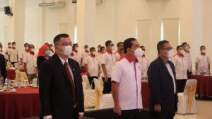 Wali Kota Lubuklinggau ,H SN Prana Putra Sohe menghadiri pelantikan sekaligus pengukuhan pengurus KONI Kota Lubuklinggau masa bhakti 2021-2025. FOTO : VIRALSUMSEL.COM
