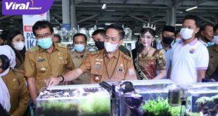 Ratu Dewa Sekda Kota Palembang buka Sentra Pasar Ikan Hias di PIM Palembang. FOTO : VIRALSUMSEL.COM