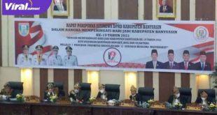Pimpinan DPRD Banyuasin dalam Rapat Paripurna Istimewa Hari Jadi Kabupaten Banyuasin ke-19. FOTO : VIRALSUMSEL.COM