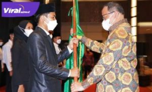 Bupati Dr Dodi Reza Alex Noerdin Lic Econ MBA melantik Pengurus IMMUBA di Grand Atyasa Convention Center Palembang, Minggu (11/4/2021). FOTO : VIRALSUMSEL.COM
