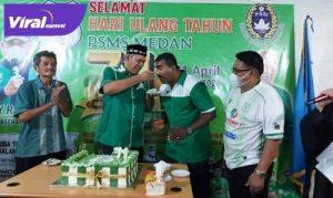 CEO PSMS Medan, Kodrat Shah hadiri acara HUT PSMS ke-71, di Stadion Mini Kebun Bunga Medan, Rabu (21/4/2021). FOTO : MO PSMS