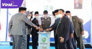 Gubernur Sumsel Herman Deru peresmian infrastruktur di Empat Lawang, Rabu (21/4/2020). FOTO : VIRALSUMSEL.COM