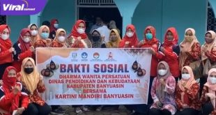 Bakti Sosial PKK Banyuasin, DWP Disdikbud bersama Kartini Mandiri Banyuasin di Kecamatan Banyuasin III, Jum'at (23/04/2021). FOTO : VIRALSUMSEL.COM