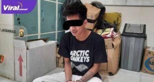 HS diringkus anggota Unit I Jatanras Polda Sumsel pimpinan Katim Aiptu Heri Gondrong. Foto : viralsumsel.com