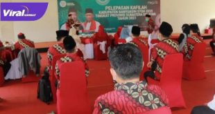 Suasana pelepasan Kafilah Kabupaten Banyuasin dalam ajang STQH Sumsel. Foto : viralsumsel.com