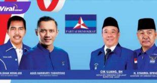 Banner DPC Partai Demokrat Kabupaten Lahat. Foto : viralsumsel.com
