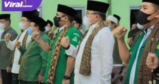 Bupati Muba Dodi Reza bareng Menag Gus Yaqut hadiri pelantikan PW GP Ansor Sumsel di Pondok Pesantren Aulia Cendikia Palembang, Senin (24/5/2021) malam. Foto : viralsumsel.com