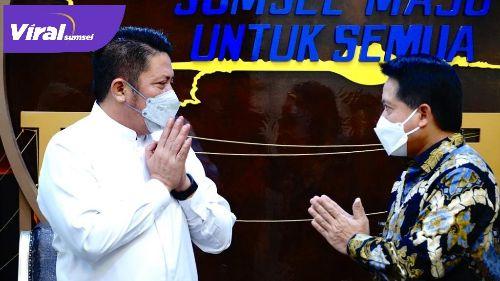 Gubernur Sumsel H Herman Deru menerima Hery Gunardi Direktur Utama PT BSI Tbk, di Ruang Tamu Gubernur Sumsel, Jum'at, (11/6/2021). Foto : viralsumsel.com/lia