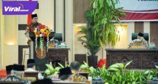 Bupati Banyuasin H Askolani dalam Rapat Paripurna II Masa Persidangan III DPRD Banyuasin. Foto : viralsumsel.com/lam