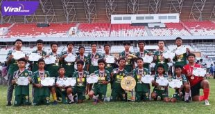 Skuat Martapura FC U-14 selebrasi juara Pra Liga Sriwijaya FC (SFC) U-14 2021di Stadion Gelora Sriwijaya, Minggu (20/6/2021). Foto : viralsumsel.com/ion