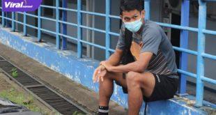 Rahmat Juliandri usai latihan perdana bersama Sriwijaya FC di Stadion Arcamanik, Bandung, Senin (21/6/2021) pagi. Foto : mo sfc