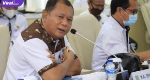Kepala Dinas Pendidikan dan Kebudayaan Muba, Musni Wijaya SSos MSi dalam rapat persiapan pelaksanaan pembelajaran tatap muka, Kamis (1/7/2021). Foto : viralsumsel.com/devi