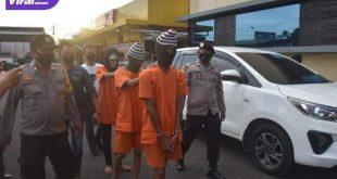 Tiga pelaku pemerkosaan disertai pembunuhan digelandang ke Polres Muba, Minggu (11/7/2021). Foto : humas polres