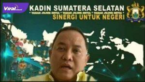 Ketua Umum KADIN Sumsel, Dr Dodi Reza Alex Noerdin Lic Econ MBA turut hadir pada rakor secara virtual Forum Kadin Se-Indonesia, Jumat (23/7/2021). Foto : viralsumsel.com/devi