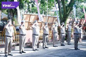 Upacara Peringatan Hari Agraria dan Tata Ruang ke- 61 Tahun 2021 di halaman kantor Pertanahan Kabupaten Muba, Jumat (24/9/2021). Foto : viralsumsel.com/devi