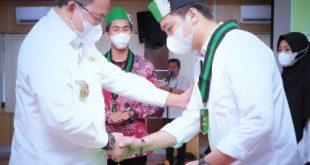 Bupati Dr Dodi Reza Alex Noerdin Lic Econ MBA hadiri pelantikan Pengurus HMI Komisariat Persiapan Serasan Sekate Cabang Palembang Periode 2021 – 2022 di Auditorium Pemkab Muba, Kamis (14/10/2021). Foto : viralsumsel.com/devi