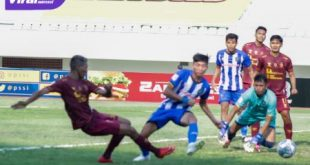 Pertandingan Sriwijaya FC versus PSPS Riau di Stadion Gelora Sriwijaya, Jumat (15/10/2021). Foto : mo sfc