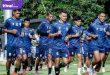 Para pemain Sriwijaya FC dalam sesi latihan di Lapangan Softball, Jakabaring, kemarin (19/10/2021). Foto : sfc