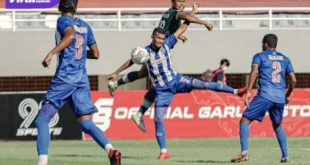 Potret pertandingan PSPS Riau versus PSMS Medan di Stadion Gelora Sriwijaya, Rabu (20/10/2021). Foto : ig psms