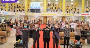 Gubernur Sumsel H Herman Deru dan Menteri BUMN RI, Erick Thohir menghadiri Dies Natalis Fakultas Ekonomi Universitas Sriwijaya ke-61, Sabtu (23/10/2021) pagi. Foto : viralsumsel.com/win