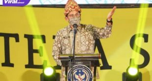 Menparekraf Sandiaga Uno buka Festival Sriwijaya XXIX Tahun 2021 ydi Taman Budaya Sriwijaya Jakabaring, Jumat (22/10/2021) sore. Foto:viralsumsel.com/win